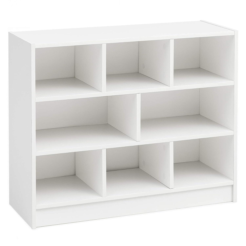 FineBuy Bücherregal FB14533 Weiß 80x68,5x29,5 cm Regal Standregal Modern | Flurregal Schuhregal Schmal | Design Dekoregal Holz | Holzregal mit Fächern | Ablageregal Wohnzimmer Abstellraum
