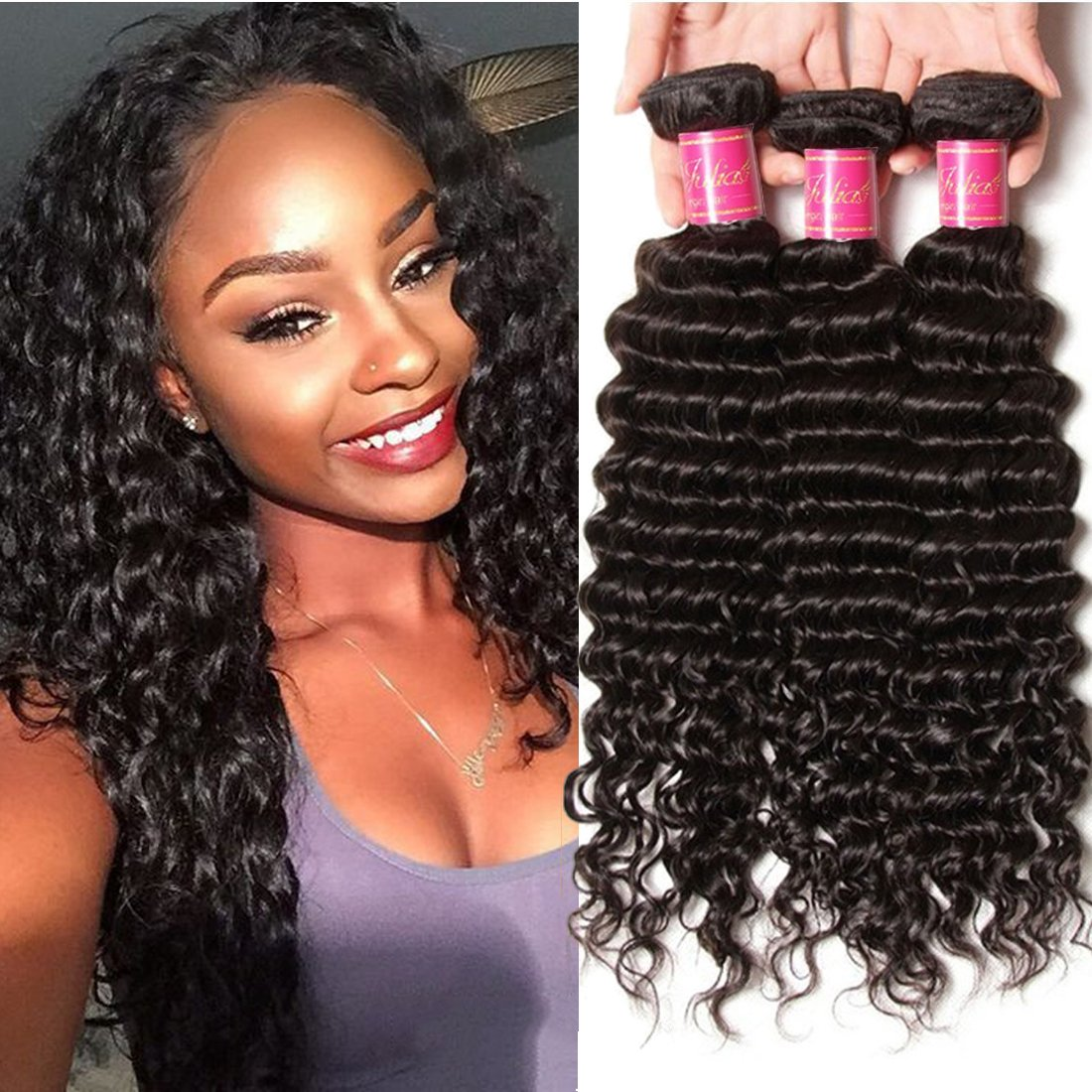 Amazon Ali Julia Brazilian Virgin Deep Curly Wave Hair Weft 3