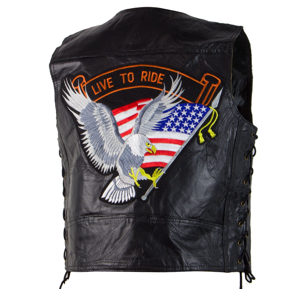 M Collection 287309 Live To Ride Mens Black Leather Vest - 3X-Large