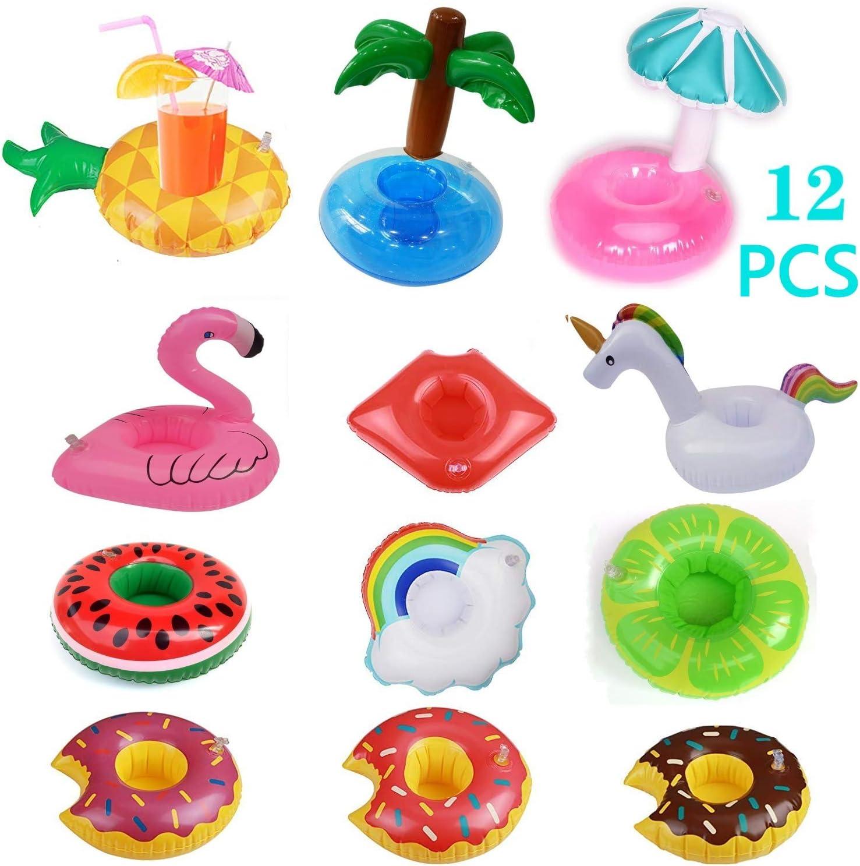 FZCRRDU KOCCAE Posavasos de Flotador Unicornio inflador Flamenco colchonetas y Juguetes hinchables de niños Adultos Fiesta Piscina (12 PCS)