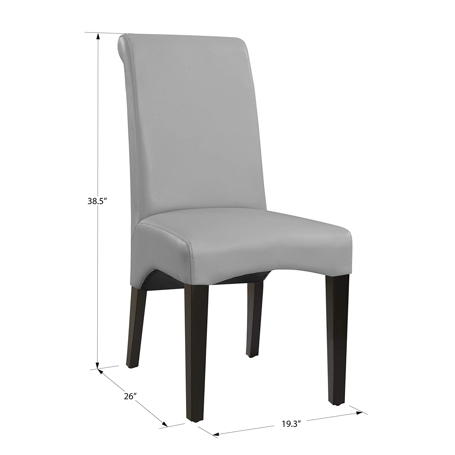 Brilliant Livingston Ii Upholstered Dining Chair In Soft Gray With Faux Leather Upholstery And Curved Back Set Of Two By Artum Hill Andrewgaddart Wooden Chair Designs For Living Room Andrewgaddartcom