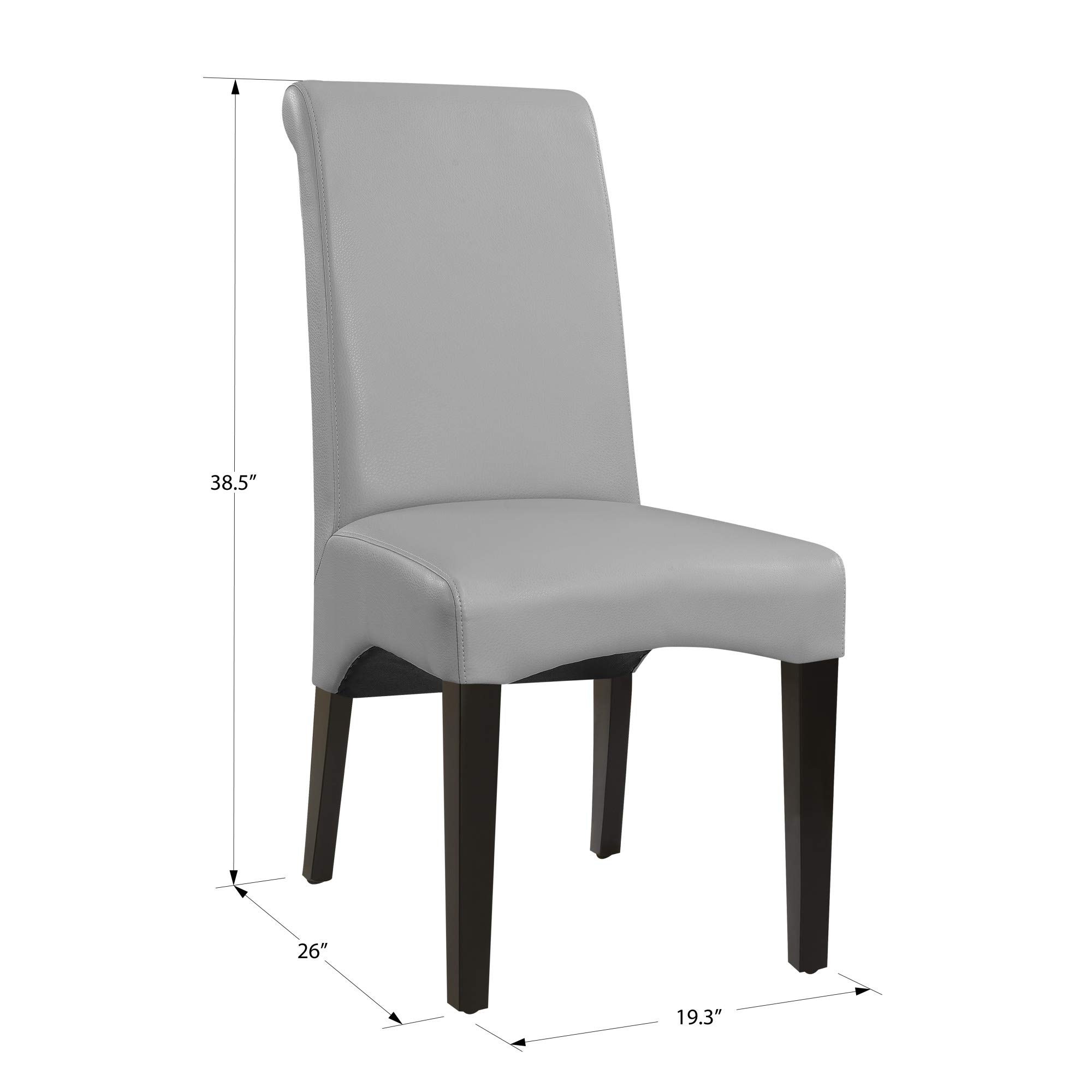Livingston II Upholstered Dining Chair in Soft Gray with Faux Leather Upholstery And Curved Back, Set of Two, by Artum Hill by Artum Hill (Image #2)