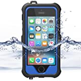 ZVE iPhone 5S / SE Waterproof Case, Waterproof Dust Proof Snow Proof Shock Proof Case with Touched Transparent Screen Protector, Heavy Duty Protective Carrying Cover Case for iPhone5s SE (Dark Blue)