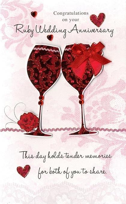 Poesie Anniversario Matrimonio.Ruby 40esimo Anniversario Di Matrimonio Biglietto D Auguri
