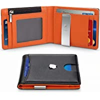 Wallets Mens RFID Blocking with Money Clip, Bi-fold Slim Genuine Leather Men Wallet with Coin Pocket, Credit Card Slots, ID Window. Minimalist Mini Wallet for Gents Men with Gift Box - Black & Orange