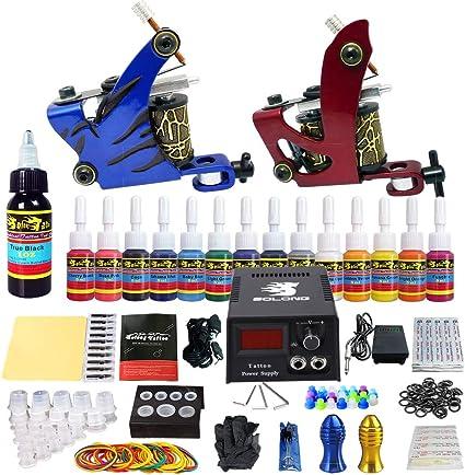 Solong Tattoo® kit tatuaje 2 máquina tatuar 14 Tintas Fuente De Alimentación Enchufe Pedal Agujas Puños Consejos TK210: Amazon.es: Belleza