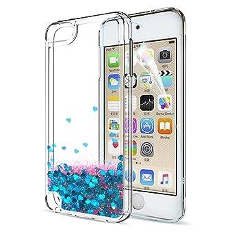 5a89a1bb55 Amazon | iPod Touch 6ケースiPod Touch 5液体ケースwith HDスクリーンプロテクターfor Girls、Leyi  Shiny Glitter QuicksandクリアTpu保護電話ケースfor Apple iPod ...