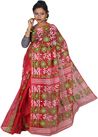 42d2a27950 ar shop Women's Cotton Silk Handloom Dhakai Jamdani Tant Saree (AR0243,  Red): Amazon.in: Clothing & Accessories