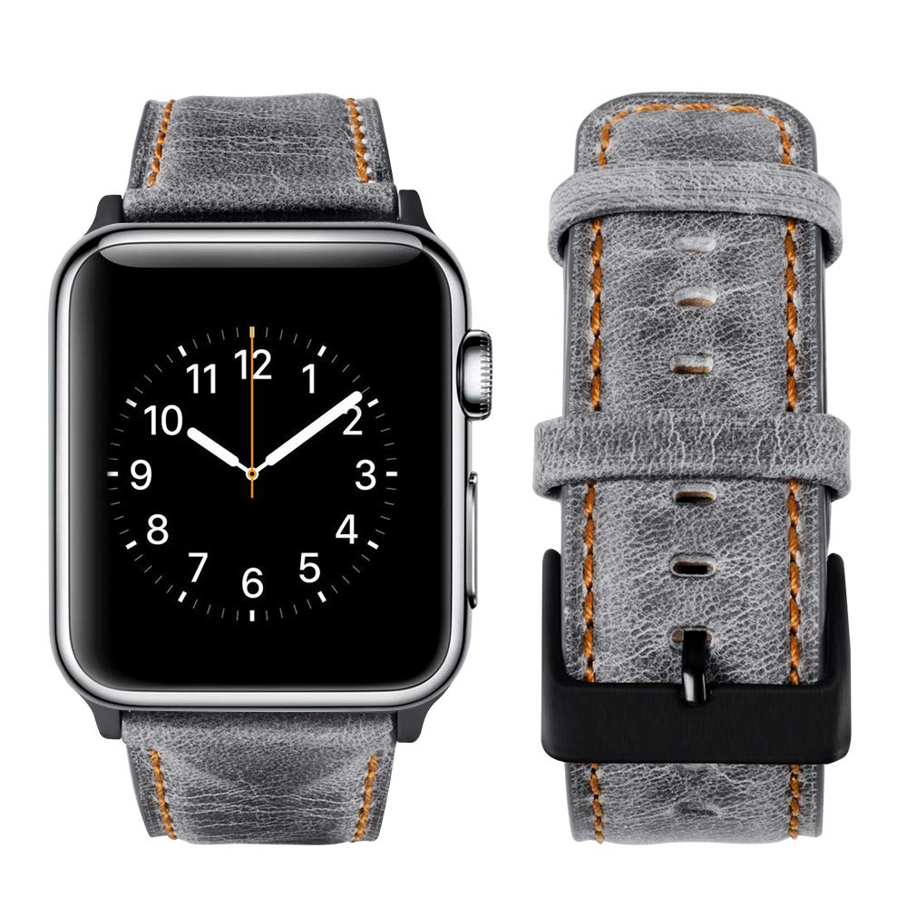 top4cus Genuine Leather iwatch Strap Replacement Band Stainless Metal Clasp, Compatible for 38mm 42mm Apple Watch Series 4(40mm 44mm) S3 S2 S1 and Sport Edition (Rugged Grey, 42mm)