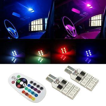 Pack de 2 Bombillas de LED T10 SMD 5050 de 16 Colores para Coche Auto con