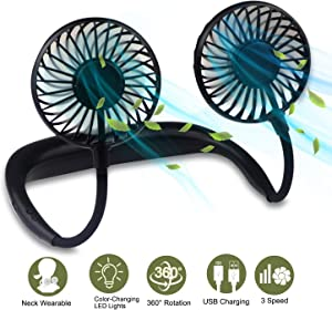 Portable Hanging Neck Sports Fan USB Rechargeable Hands-Free Wearable Neck Fan Upgraded Personal Cooling Device with 7 Colors of Changing Led Light, 360° Free Rotation, Lower Noise, 3 Speed Strong Airflow Fan for Running, Office, Home, Outdoor, Travel Black