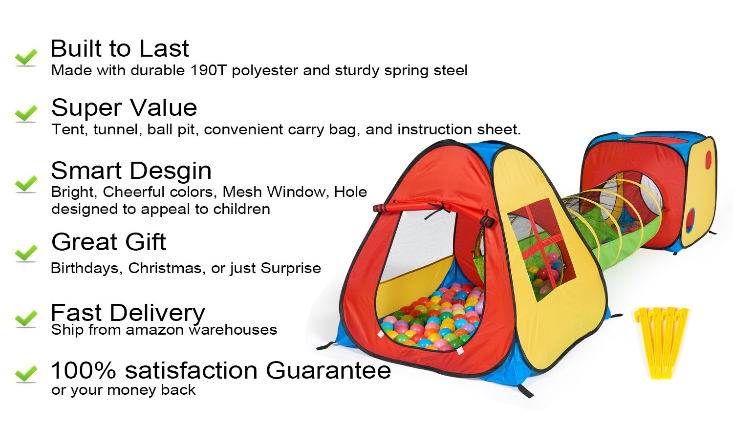 UTEX 3 in 1 Pop Up Play Tent with Tunnel, Ball Pit for Kids, Boys, Girls, Babies and Toddlers, Indoor/Outdoor Playhouse by UTEX (Image #3)