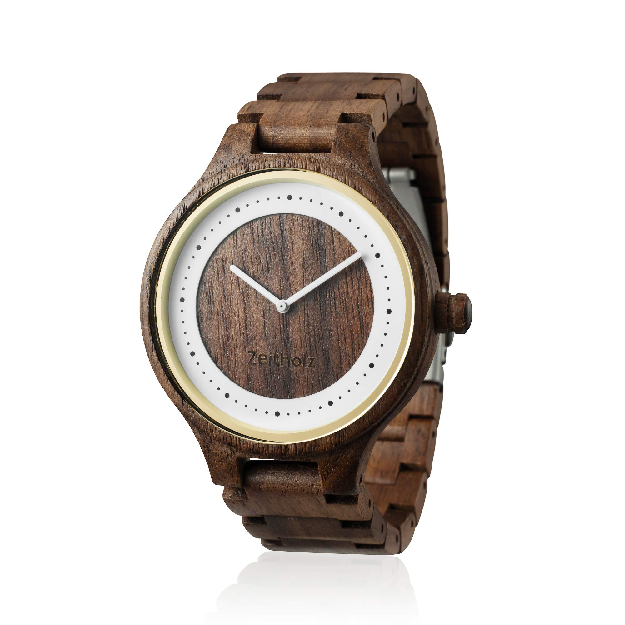 "Zeitholz Men's Wooden Watch, Model Dohma - 100% Natural Walnut Wood Case and Band - ""Miyota"" GL30 Movement - Lightweight, Handmade and Hypoallergenic Analog Quartz Wrist Watch"