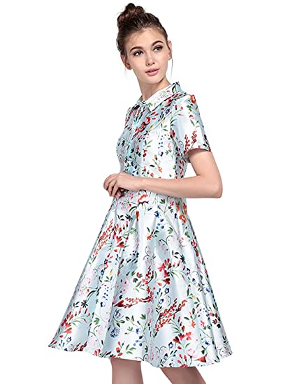 e95898bcd3c HaoDuoYi Womens Vintage 1950s Floral Print Swing Button Mini Dress at  Amazon Women s Clothing store