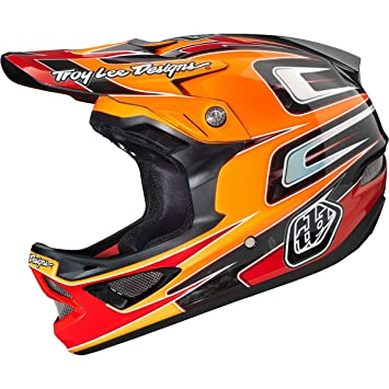 Troy Lee Designs D3 Speed-CF-Casco integral, color naranja/rojo 2014