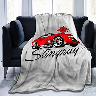 Splendid Fee Corvette_Stingray_Red_Vector Blanket Soft Comfortable Thin Warm Flannel Printing Anti-Pilling 4 Seasons Universal Adult Children Quilt Tapestry50 x40: Home & Kitchen