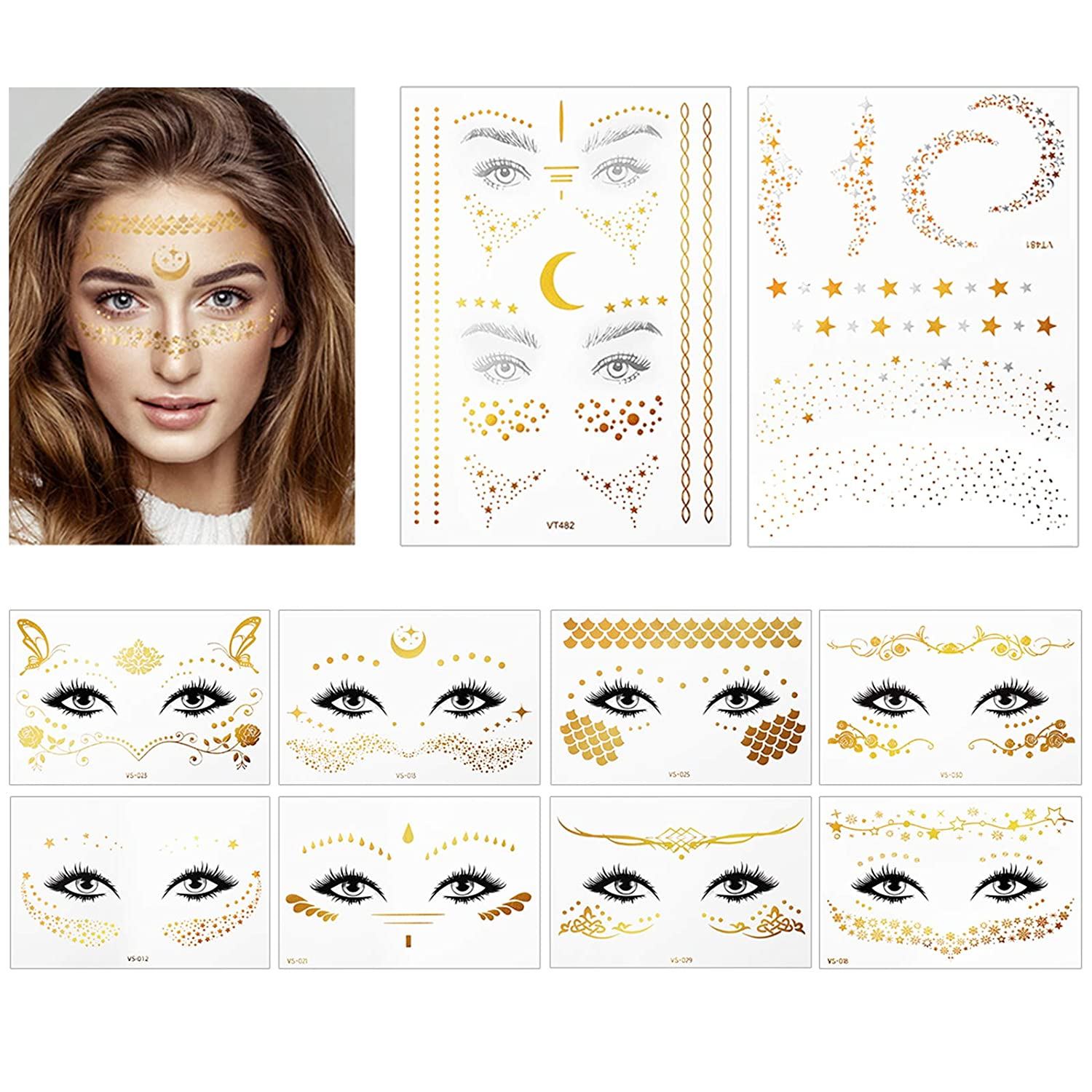 Face Gold Fake Tattoos, 10 Sheets Waterproof Metallic Temporary Tattoos for Women Girls Makeup