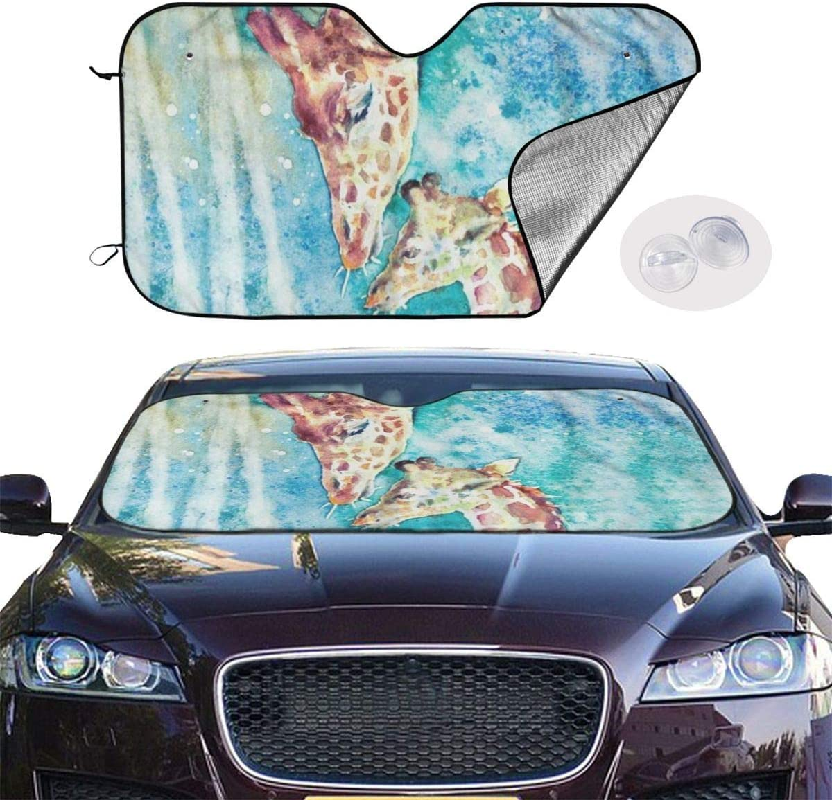 Car Windshield Sun Shade Watercolor Two Giraffes Animal Art UV Sun and Heat Reflector Visor Protector 130x70cm Y.Z.L