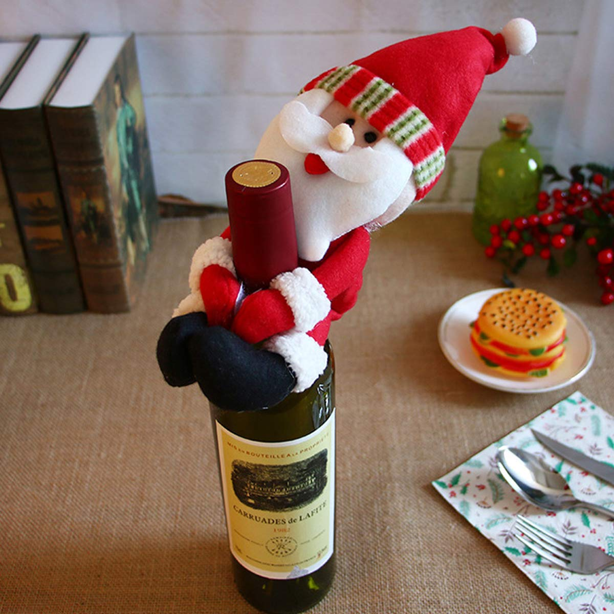 Wine Bottle Covers 1pcs Table Decorations Wine Bottle Cover Ornament Wedding Table Decorations Novelty Decoration Snowman Santa Clause Lovely Hug High Quality Goods Household Merchandises