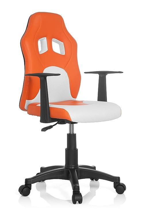 hjh OFFICE Teen Racer Al Silla Infantil, Piel_sintética, (Naranja/Blanco), 41x51x103 cm