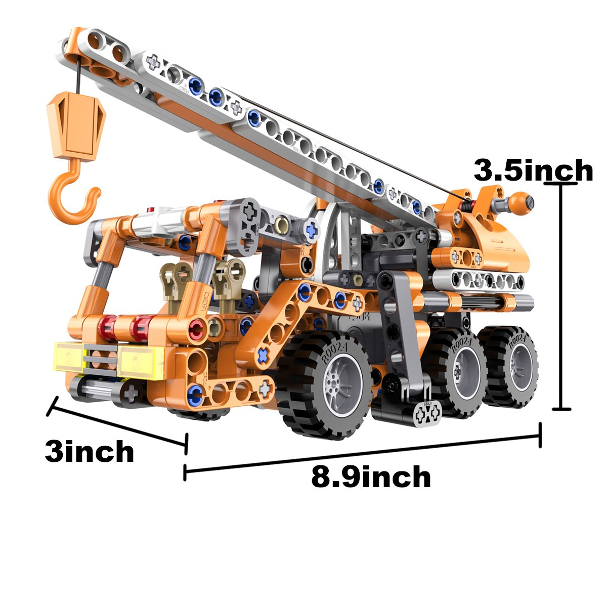 Hugine 272Pcs Mobile Pull Back Crane Building Blocks,Construction Toy Assembled Engineering Vehicle Construction Truck DIY Education Toys for Kids (C52013)