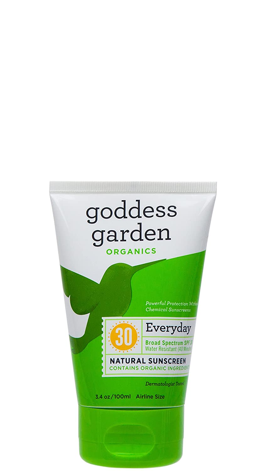 Goddess Garden Organics SPF 30 Everyday Natural Mineral Sunscreen Lotion for Sensitive Skin (3.4 Ounce Tube) Reef Safe, Water Resistant, Vegan, Leaping Bunny Certified Cruelty-Free, Non-Nano