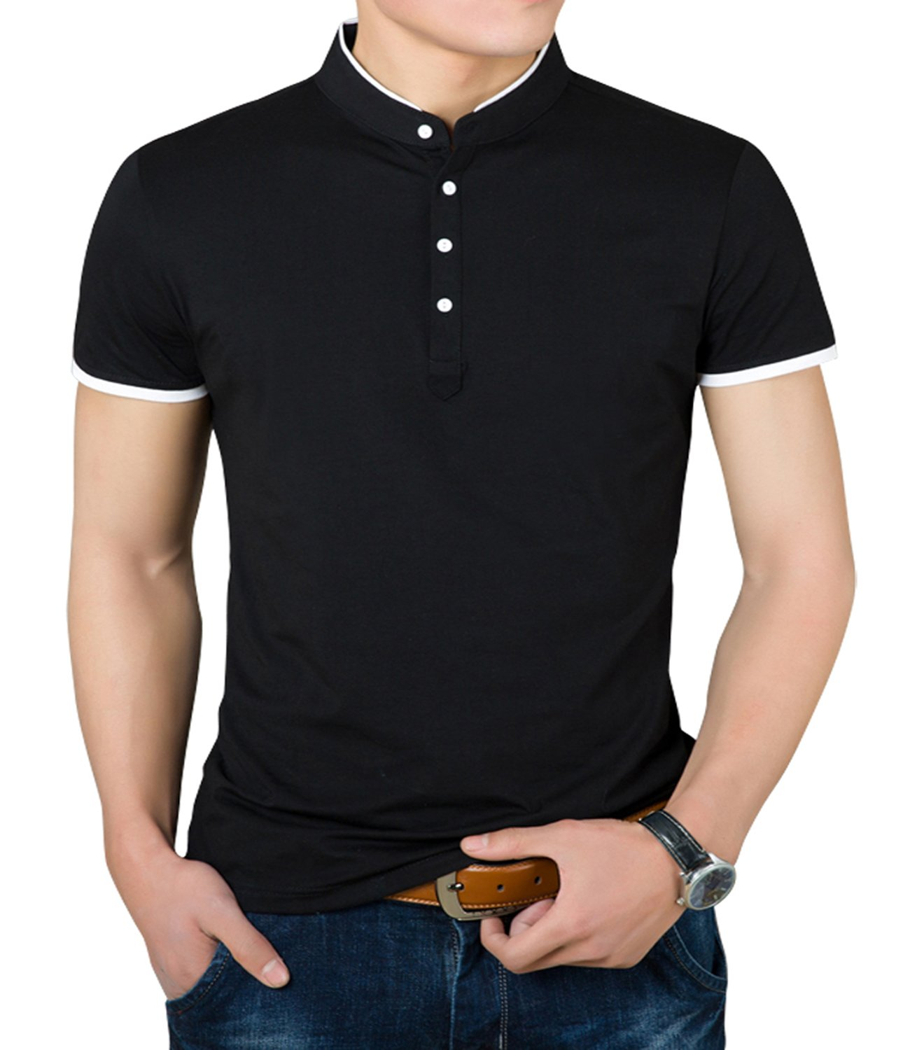 YTD Mens Summer Slim Fit Pure Color Short Sleeve Polo Casual T-Shirts (US Large, Black)