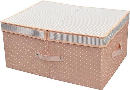 Caja de almacenaje plegable para la ropa estacional/ropa/edredones/mantas, organizador de los pantalones vaqueros, envase de almacenaje 60 con la cubierta desprendible y tablero del divisor, color de rosa: Amazon.es: Hogar