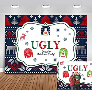 Annual Merry Christmas Ugly Sweater Party Photography Backdrop 7x5ft Vinyl Kids Elfed Birthday Banner Supplies Winter Snowflake Tacky Photo Booth Background Baby Shower Decorations Dessert Table