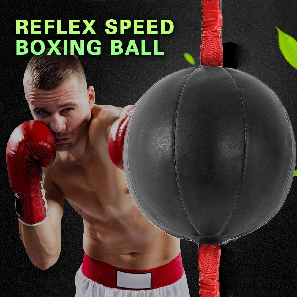 Double End Boxing Speed Ball Punch Bag PU Leather Gym Punching Bag Training Fitness Sports Boxing Bag for Practical Speed Training Equipment