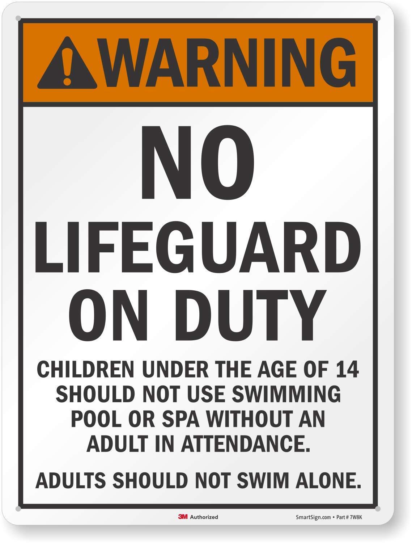 SmartSign''Warning No Lifeguard On Duty'' Sign   18'' x 24'' 3M Engineer Grade Reflective Aluminum by SmartSign