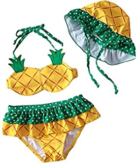 264e61f609957 FAYALEQ Kids Baby Girls Cute Pineapple Halter Two-Pieces Bikini Set Swimsuit  With Hat