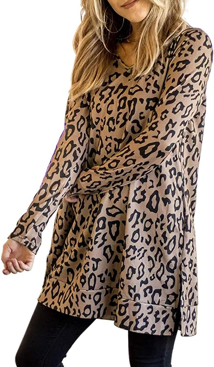 Zattcas Womens Long Sleeve Tunic Tops Leopard Print V Neck Side Split Tunic