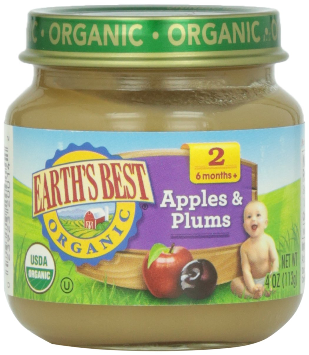 Earth's Best Organic Stage 2 Baby Food, Apples and Plums, 4 oz. Jar