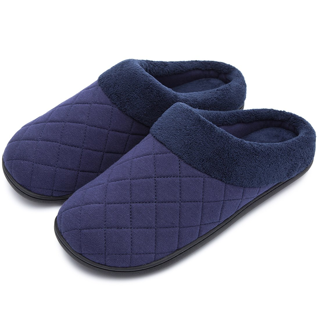 Men's Comfort Quilted Memory Foam Fleece Lining House Slippers Slip On Clog House Shoes (Small / 7-8 D(M) US, Navy Blue)