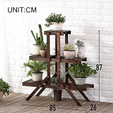 WYDM 3 Escalera con gradas Soporte de flores de madera Patio del jardín Balcón Planta de