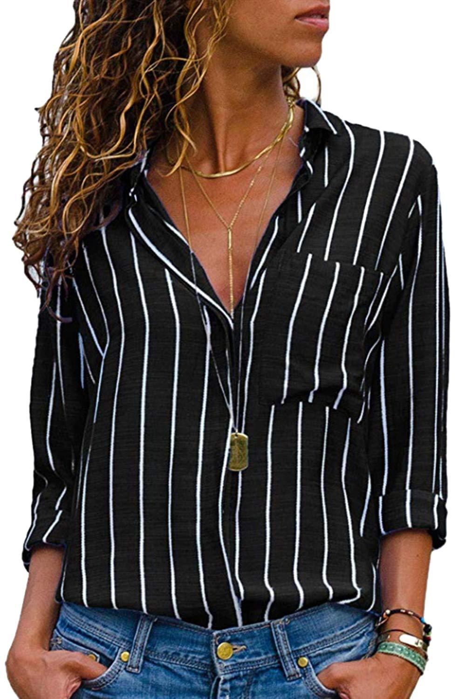 Cutiefox Blouses for Women Fashion Long Sleeve Button-Down Stripes Office Shirts M A-Black