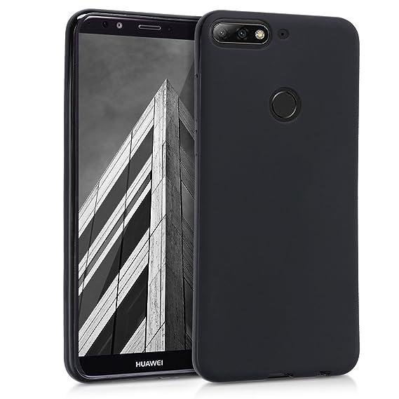 kwmobile Funda para Huawei Y7 (2018)/Y7 Prime (2018) - Carcasa para móvil en [TPU Silicona] - Protector [Trasero] en [Negro Mate]