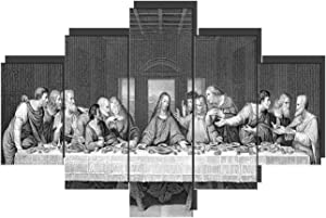 Christian Pictures for Wall Black and White Art Santa Cena De Jesus Cuadro Artwork The Last Supper Paintings for Living Room 5 Pcs/Multi Panel Canvas Home Decor Framed Ready to Hang(60''Wx40''H)