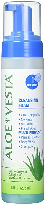 Convatec Aloe Vesta 3-N-1 Cleansing Foam, 8 Oz Elysee Liposomal Serum, 10ml.