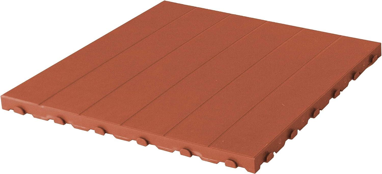 Baldosa de plástico para exterior y jardín de 60 x 60 cm. Paquete de 4 unidades equivalente a 1,5 m2 color terracota