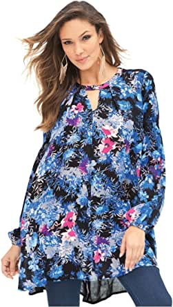 Roamans Denim 24/7 Plus Size Drape Cutout Tunic at Amazon