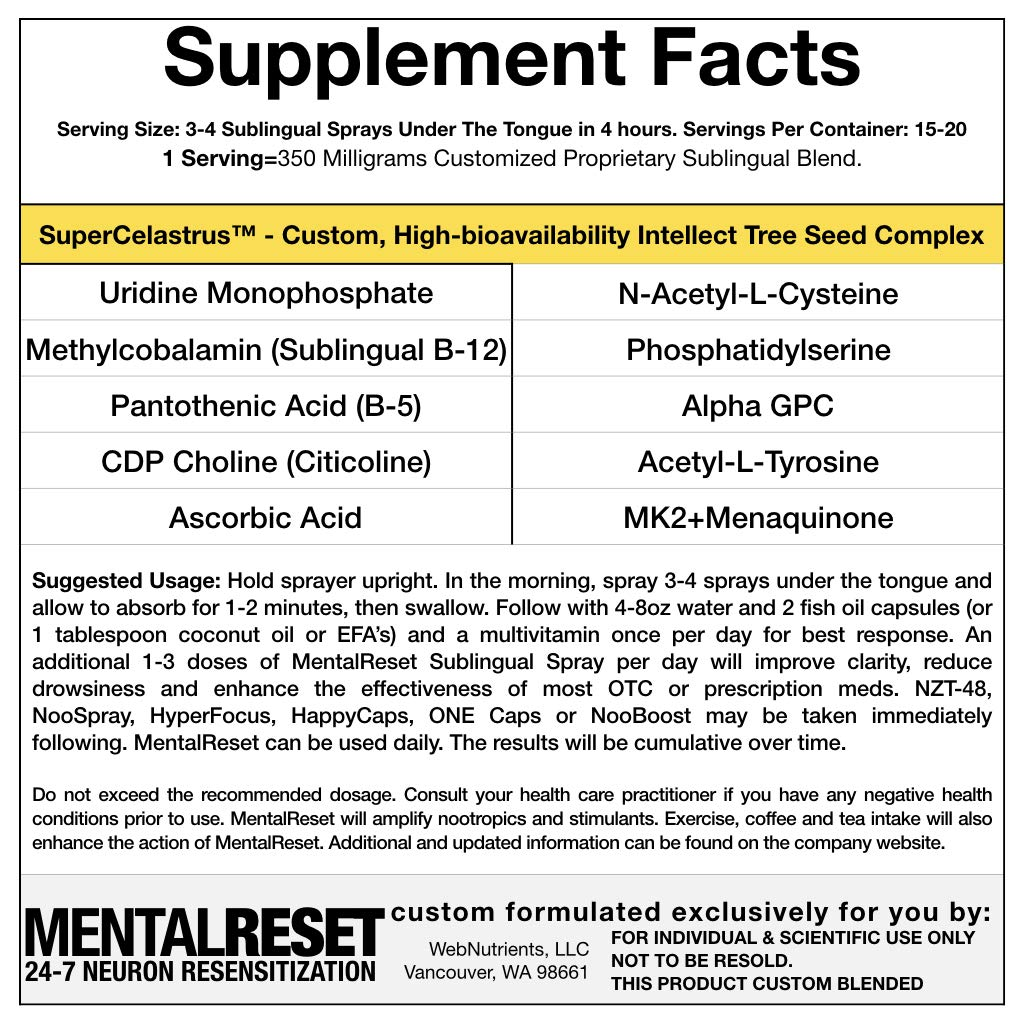MentalReset 2.0 - 32 Doses (16-Night, 16-Day) Improve Mental Clarity. Enhance Neurogenesis. Measurably Increase Performance of Nootropics by Nootropic Stacks by WebNutrients (Image #4)