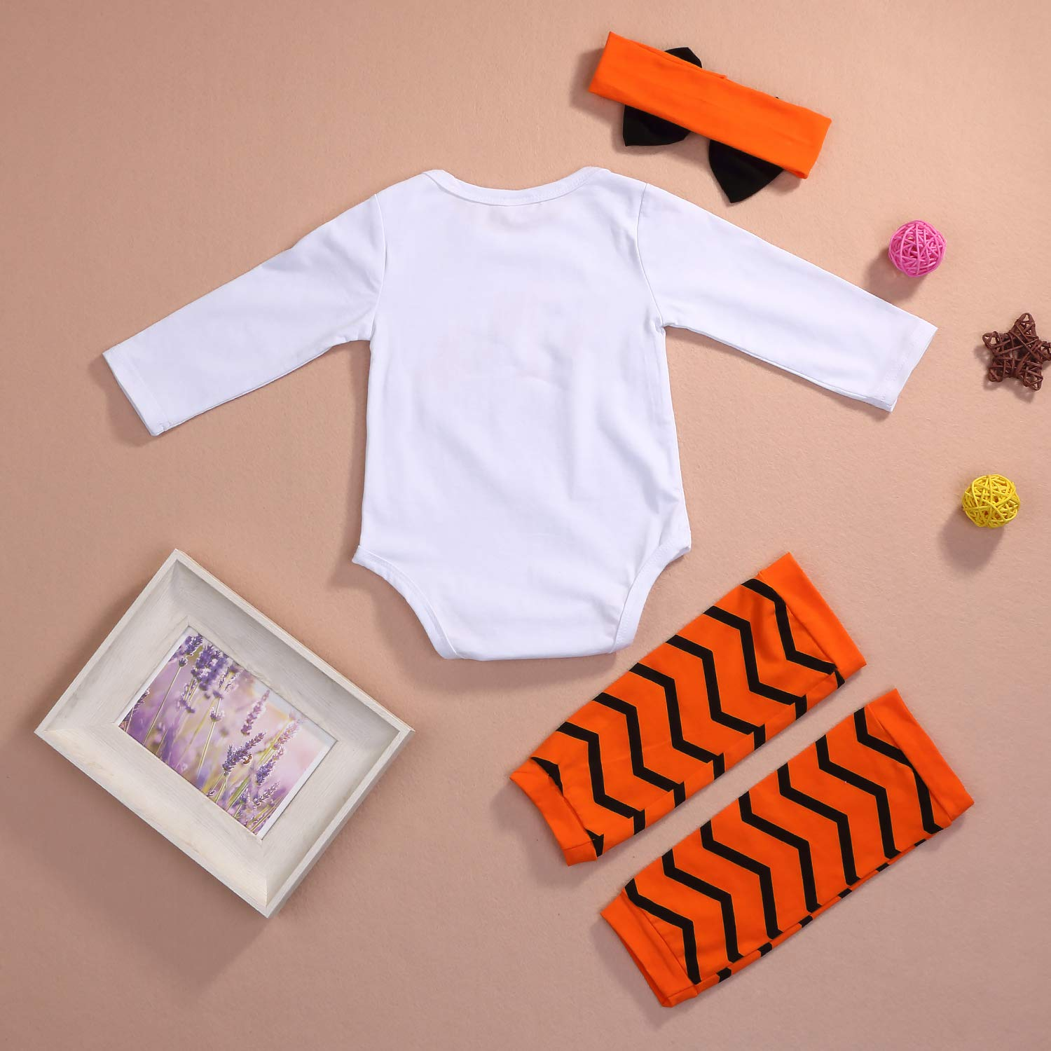 Younger Tree My 1st Halloween Baby Halloween Romper Newborn Infant White Long Sleeve Bodysuit Jumpsuit Outfit