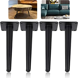4 Pack 8 inch Round Tapered Furniture Legs Heavy Duty Metal Cabinet Cupboard Feet for Sofa Stand, TV Stand, Chair Leg Feet, Table, Cabinet, Black