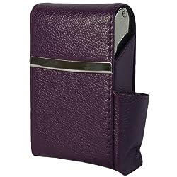 Genuine Leather Fliptop Cigarette Case & Lighter Holder