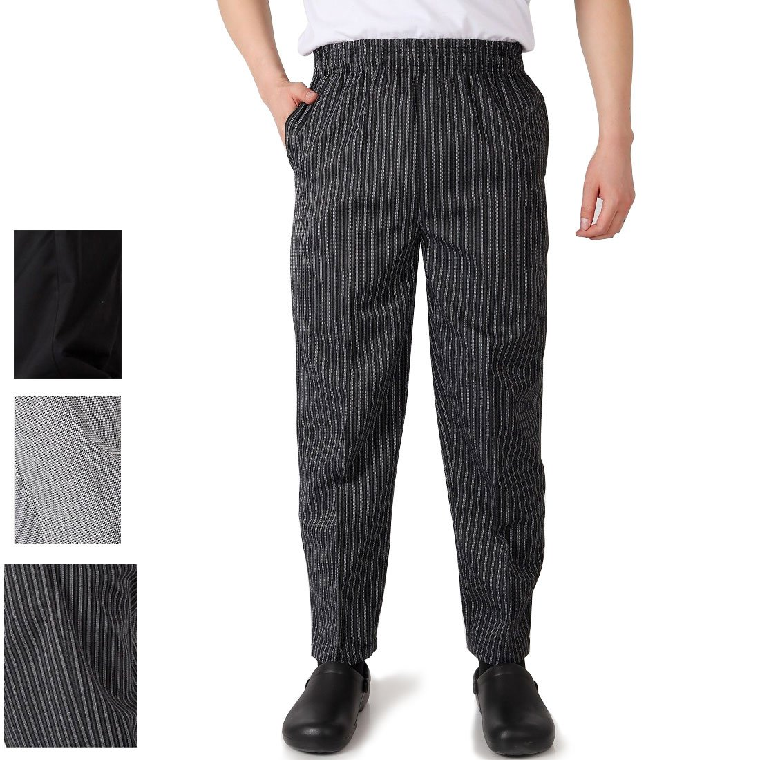 Levoberg Chef Pant Elastic Waist with Pocket Men's Baggy Chef Pant Restaurant Hotel Work Uniforms 2XL Stripe