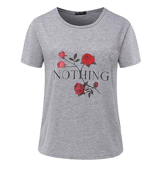 ... Frauen Lockere T-Shirt Oberteil Sommershirt Tops für Damen Schöne  Printshirt Lässige Kurzarmshirt Ausgefallene Shirts Coole  Amazon.de   Bekleidung 7498a78621