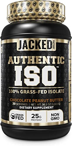 Authentic ISO 100 Grass Fed Muscle Building Whey Protein Isolate Powder – Low Carb, Grass-Fed, Non-GMO, No Fillers, Mixes Perfectly for Post Workout Recovery, Chocolate Peanut Butter Flavor – 30 SV