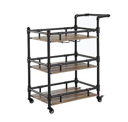 Silverwood FS1149-R-COM Wyndham 2-Tier Bar Cart 2 17 L x 28 W x 34 H